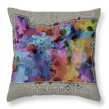 Oregon Map Color Splatter 5 Throw Pillow