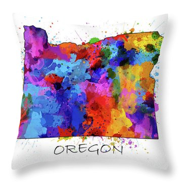Oregon Map Color Splatter Throw Pillow