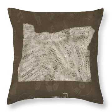 Oregon Map Music Notes 3 Throw Pillow