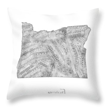 Oregon Map Music Notes Throw Pillow