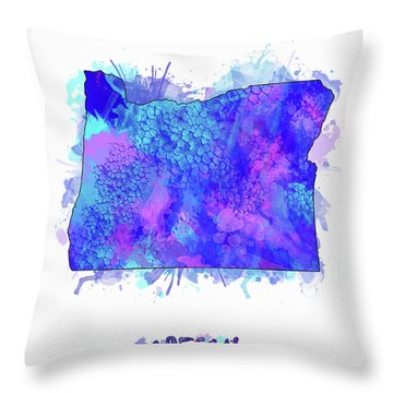 Oregon Map Watercolor 2 Throw Pillow