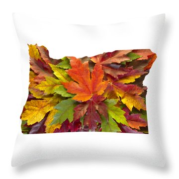 Oregon Maple Leaves Mixed Fall Colors Background Throw Pillow