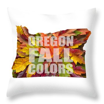 Oregon Maple Leaves Mixed Fall Colors Text Throw Pillow