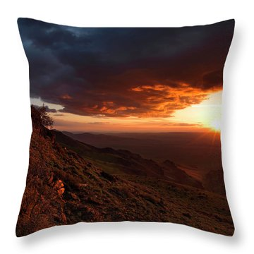 Oregon Mountains Sunrise Throw Pillow by Leland D Howard