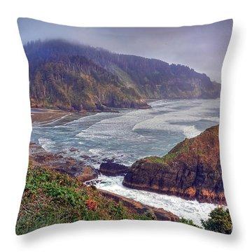 Oregon Pacific Coastline Throw Pillow