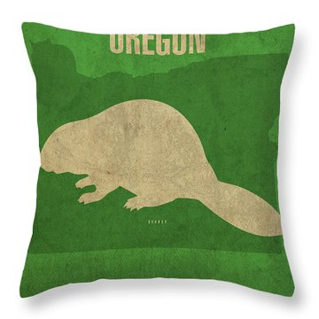 Oregon State Facts Minimalist Movie Poster Art Throw Pillow by Design Turnpike
