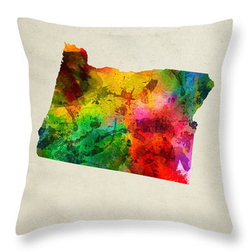 Oregon State Map 01 Throw Pillow by Aged Pixel