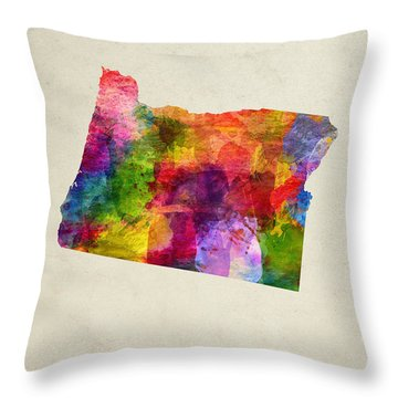 Oregon State Map 02 Throw Pillow by Aged Pixel