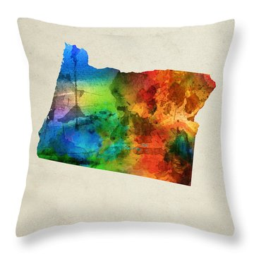 Oregon State Map 03 Throw Pillow by Aged Pixel