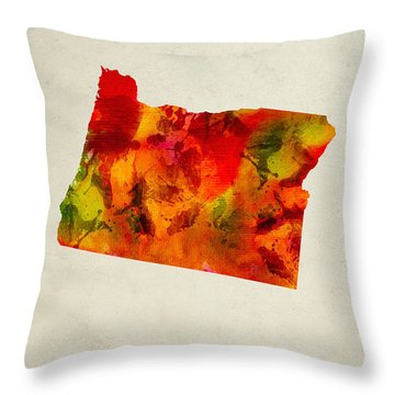 Oregon State Map 04 Throw Pillow by Aged Pixel