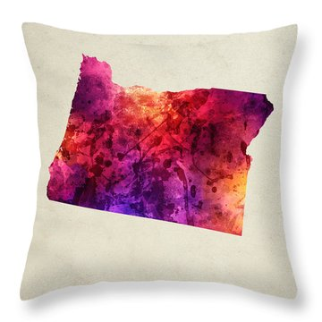 Oregon State Map 05 Throw Pillow by Aged Pixel