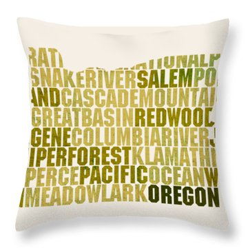 Oregon State Outline Word Map Throw Pillow