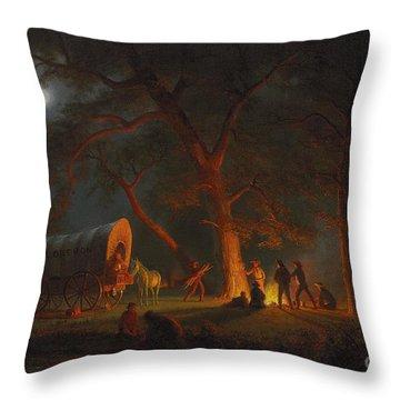 Oregon Trail Throw Pillow by Albert Bierstadt