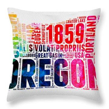 Oregon Watercolor Word Cloud Throw Pillow