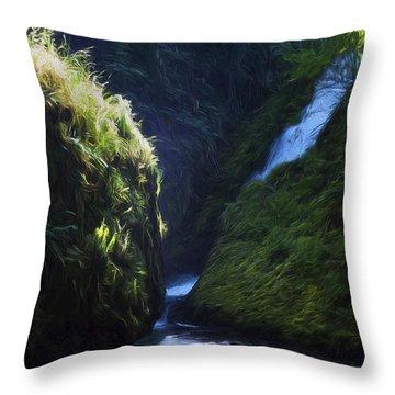 Oregon Waterfall Throw Pillow