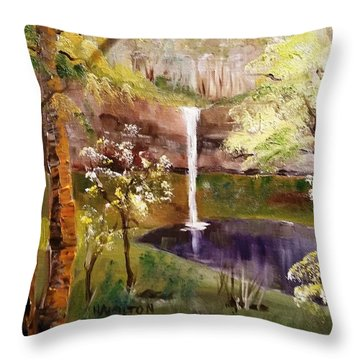 Oregon Waterfall Throw Pillow