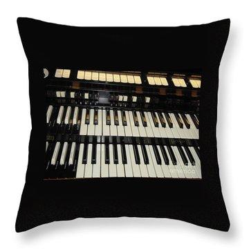 Hammond Organ Keys Throw Pillow