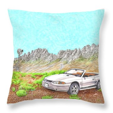 Throw Pillow featuring the painting Organ Mountain Mustang by Jack Pumphrey