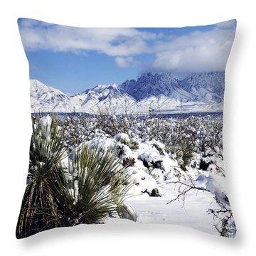 Throw Pillow featuring the photograph Winter's Blanket Organ Mountains by Kurt Van Wagner