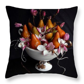 Organic Bosc Pears And Magnolia Blossoms Throw Pillow