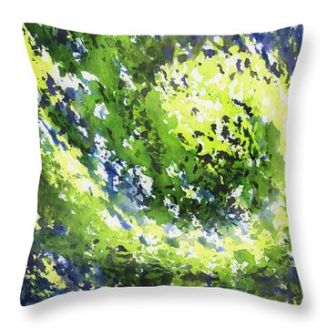 Organic Curve Abstract Watercolor Throw Pillow
