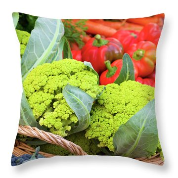 Organic Green Cauliflower At The Farmer's Market Throw Pillow