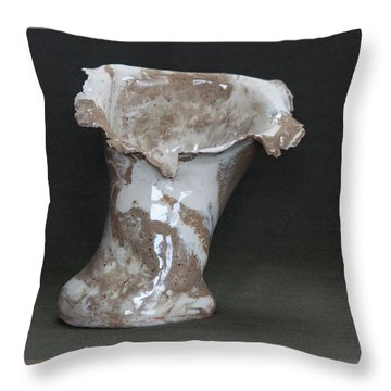 Organic Marbled Clay Ceramic Vase Throw Pillow by Suzanne Gaff