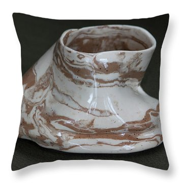 Organic Marbled Clay Ceramic Vessel Throw Pillow by Suzanne Gaff