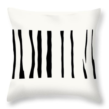 Organic No 12 Black And White Line Abstract Throw Pillow