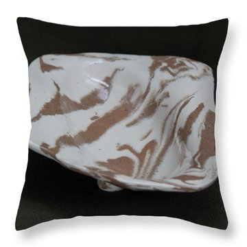 Organic Oval Marbled Ceramic Dish Throw Pillow by Suzanne Gaff