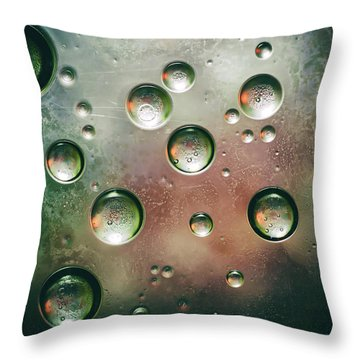 Throw Pillow featuring the photograph Organic Silver Oil Bubble Abstract by John Williams