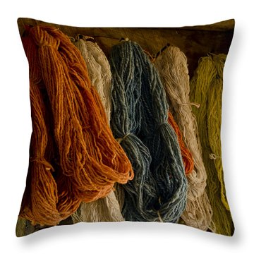Organic Yarn And Natural Dyes Throw Pillow by Wilma  Birdwell
