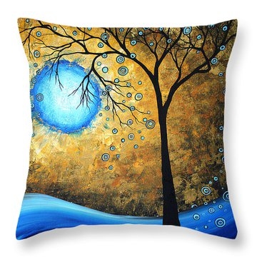 Orginal Abstract Landscape Painting Blue Fire By Madart Throw Pillow by Megan Duncanson
