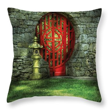 Orient - Door - The Moon Gate Throw Pillow by Mike Savad