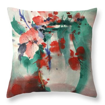 Oriental Brush Flowers And Vase Throw Pillow