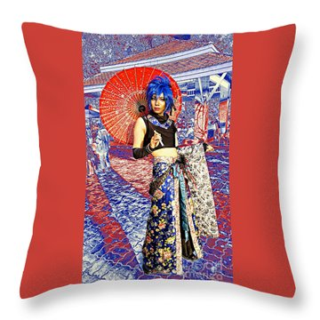 Oriental Cosplayer Throw Pillow by Ian Gledhill