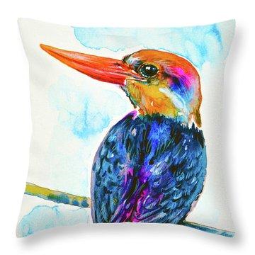 Oriental Dwarf Kingfisher Throw Pillow by Zaira Dzhaubaeva