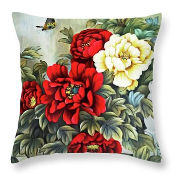 Throw Pillow featuring the photograph Oriental Flowers by Munir Alawi