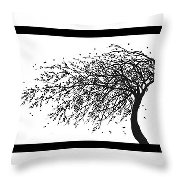 Throw Pillow featuring the mixed media Oriental Foliage by Gina Dsgn