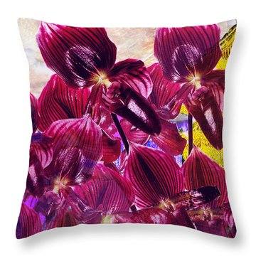 Throw Pillow featuring the digital art Oriental Orchid Garden by Seth Weaver