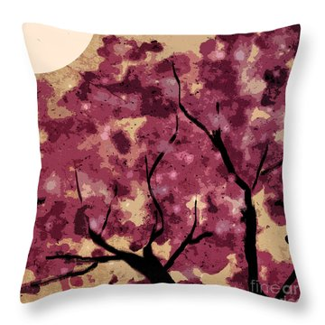 Oriental Plum Blossom Throw Pillow by Xueling Zou