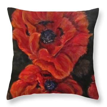 Oriental Poppys  Throw Pillow