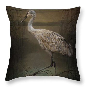 Oriental Sandhill Crane Throw Pillow