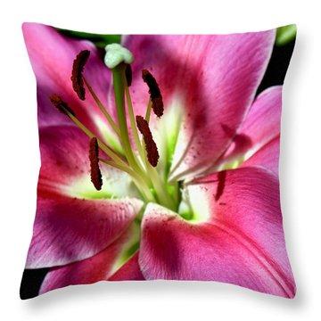 Oriental Trumpet Lily Throw Pillow