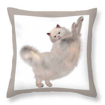 Oriental White Cat Throw Pillow by Corey Ford