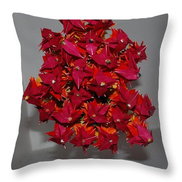 Origami Flowers Throw Pillow by Rob Hans