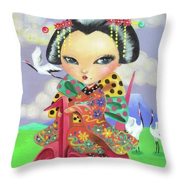 Origami Girl Throw Pillow