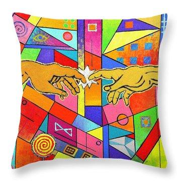 Origin Of Man Throw Pillow
