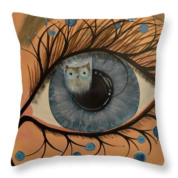 Original Acrylic Artwork By Mimi Stirn - Hoomasters Collection Hoodali #412 Mimi's Self Portrait Throw Pillow