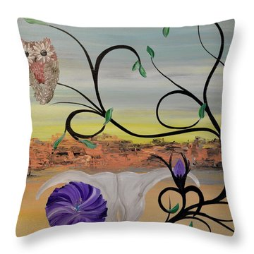 Original Acrylic Artwork By Mimi Stirn - Hoomasters Collection -hooo'keeffe #415 Throw Pillow